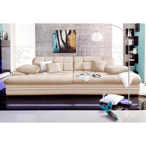 Grand Canape Design Assise Profonde Avec Eclairage Microfibre Primabelle Creme Vue 1 Canape Design Grand Canape Canape Assise Profonde