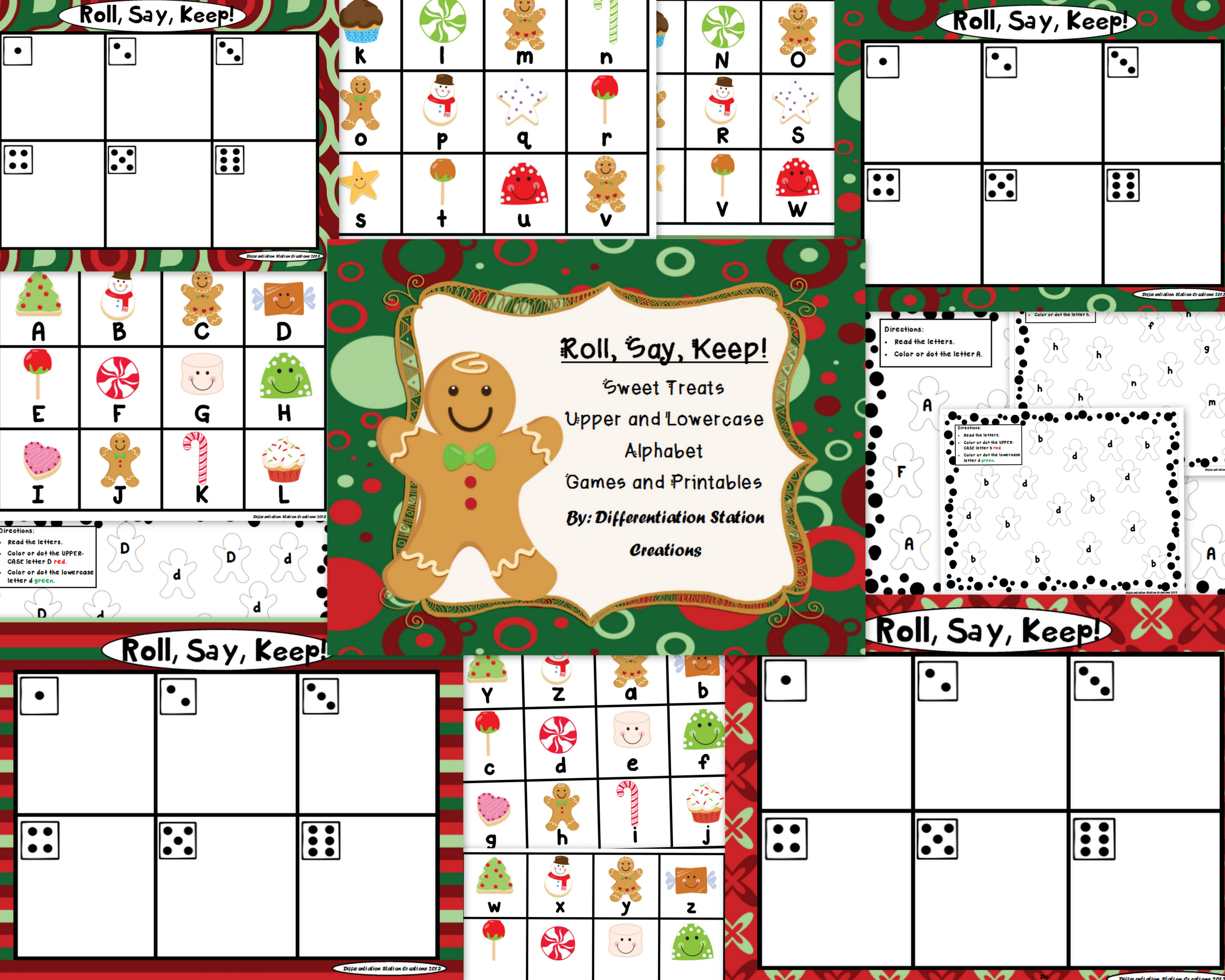Holiday Sweet Treats Roll Say Keep Alphabet Center Game And Printables