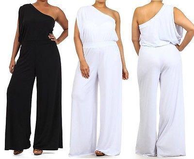 Plus Size One Shoulder Wide Leg Dress Jumpsuit Palazzo Pants Suit In
