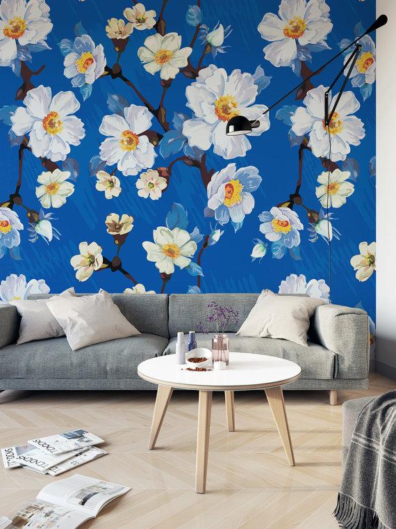 Vintage Floral Self Adhesive Wallpaper Removable Wallpaper Etsy Vintage Floral Wall Decor Wallpaper Walls Decor Traditional Wallpaper