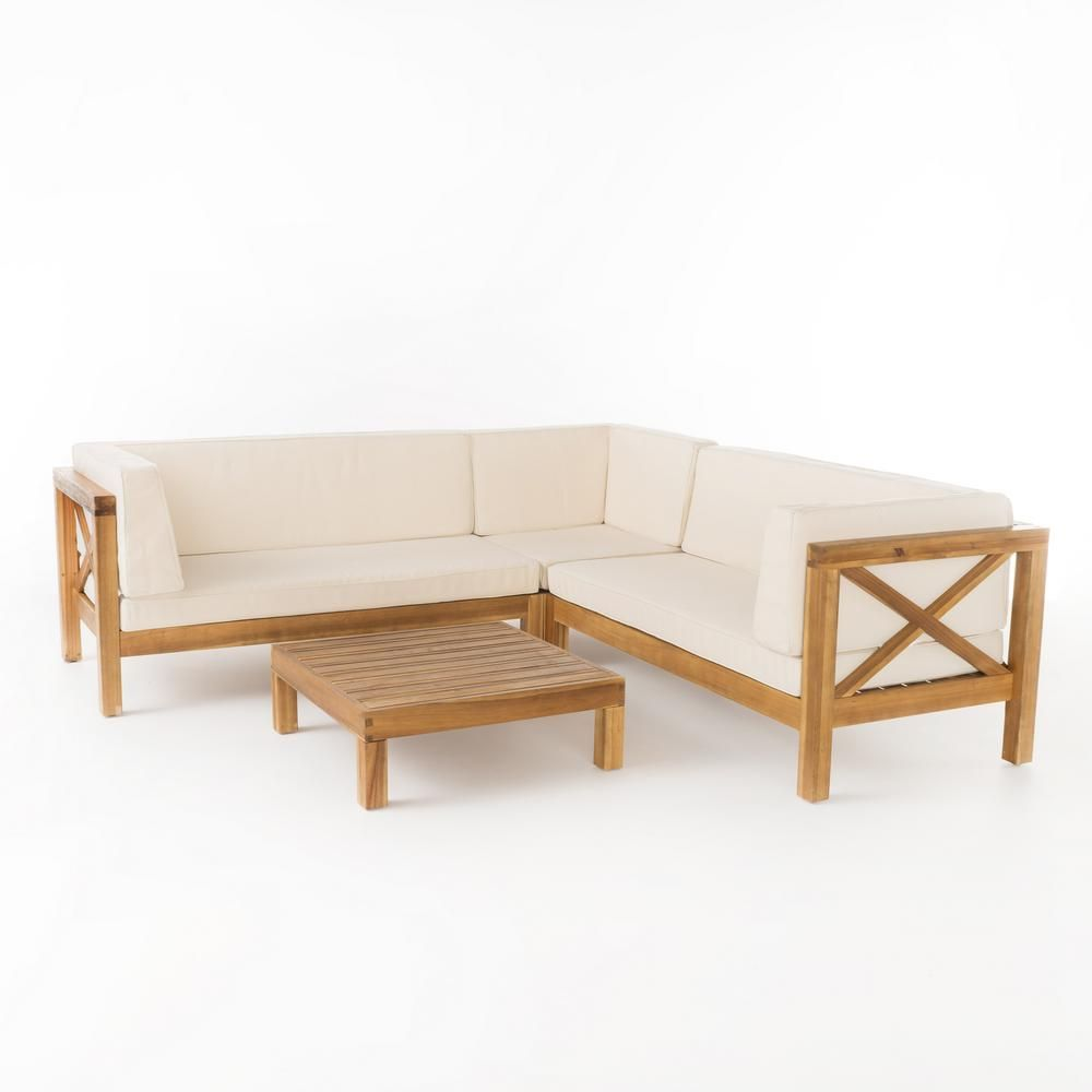Noble House Brava Teak Finish 4 Piece Wood Outdoor Sectional Set With Beige Cushions 55321 With Images Teak Patio Furniture Used Outdoor Furniture Furniture
