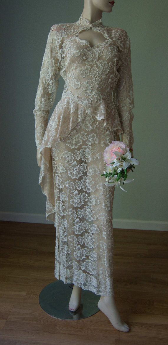 1940s Full Length Lace Wedding Gown // Cascading Peplum // Keyhole ...