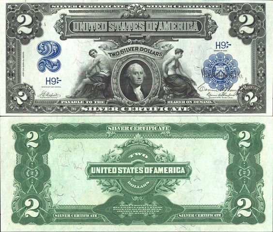Us 2 Dollar Note Series 1899 Paper Currency Silver Certificate Banknotes Money