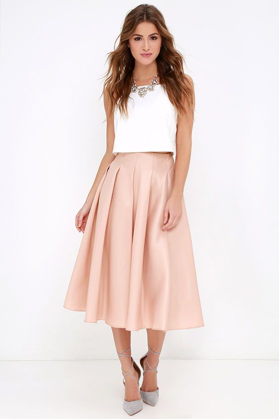 dac4679bd56f The Without Question Blush Midi Skirt is hands down our favorite  party-ready skirt! From a high waist falls elegant box pleats that form a  full, ...