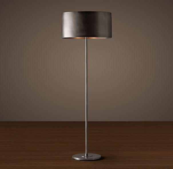 Restoration Hardware Floor Lamps >> Antiqued Metal Drum Floor Lamp Antique Silver