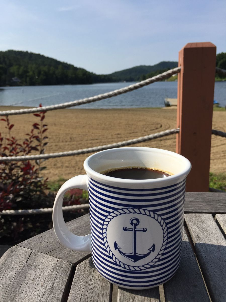 Blue & White Anchor Mug Tasse café, Style nautique