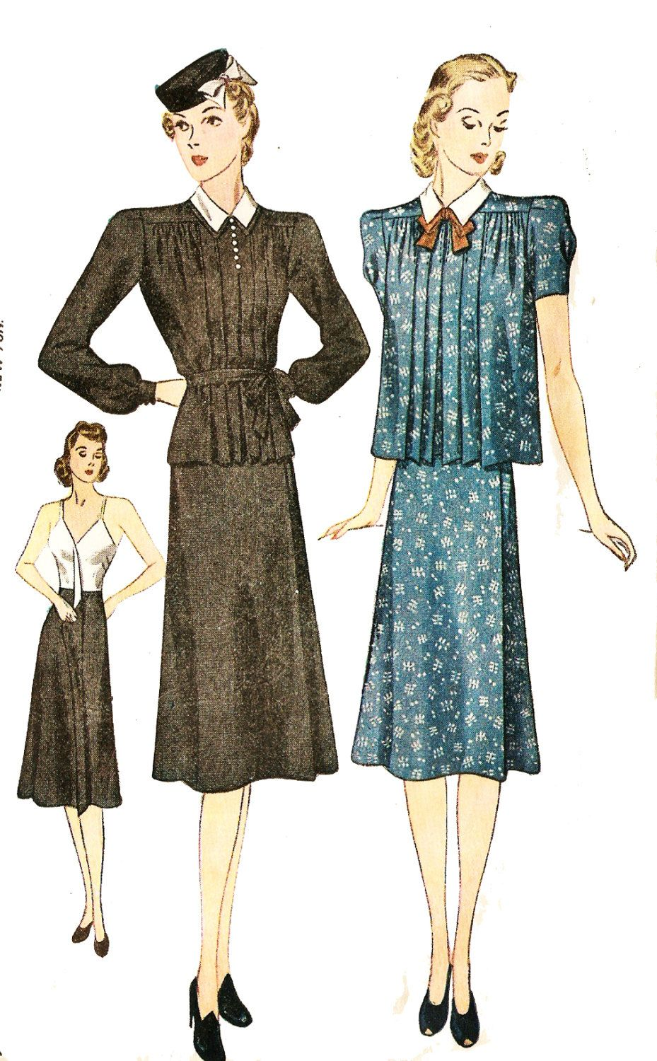 d1e728f09f073 Simplicity 3153 Misses' Vintage 1930s Two Piece Maternity Dress Sewing  Pattern…