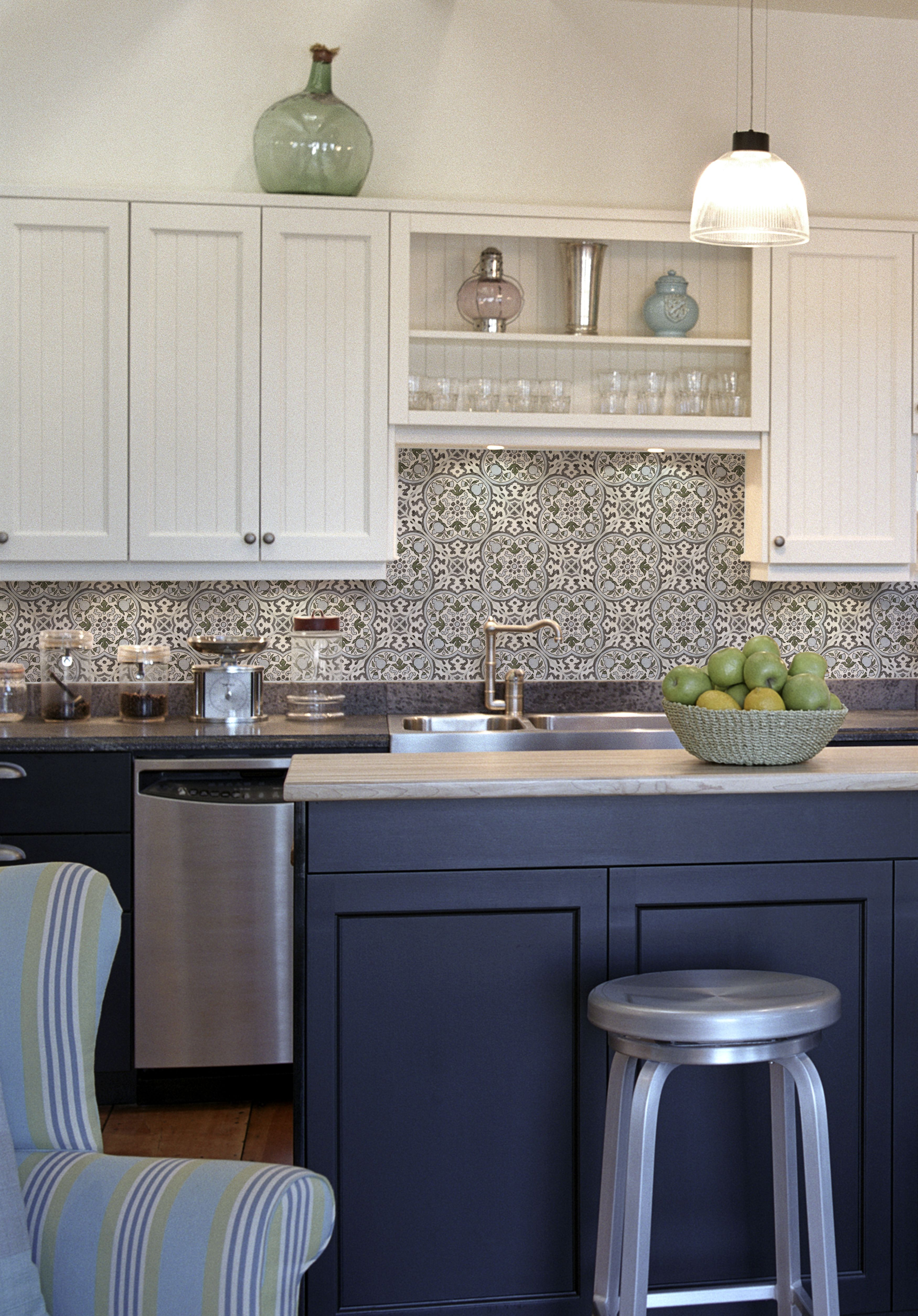 Holland Blue Grey On Carrara Backsplash Kitchen White Cabinets