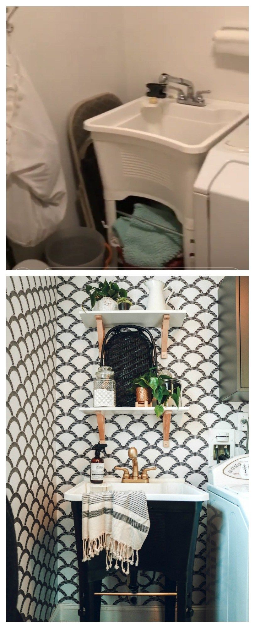 Photo of Waschküche Makeover mit Tempaper Removable Wallpaper und Painted Laminat – Nesting With Grace
