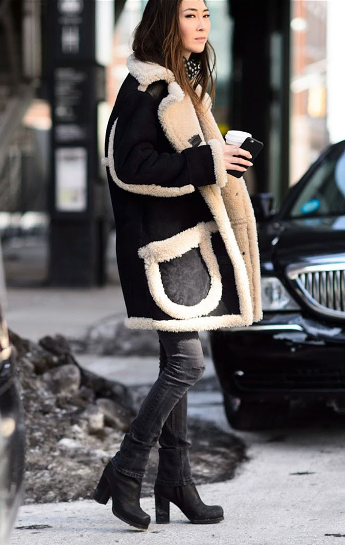 The Shearling Coat: Jayne Min is wearing a coat from Coach ...