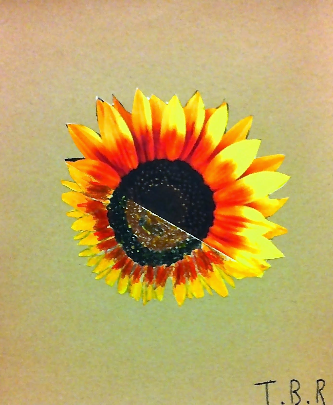 Meet The Creative Part of Me: Sunflower from half a photo to full flower - made of 4 and 5 year