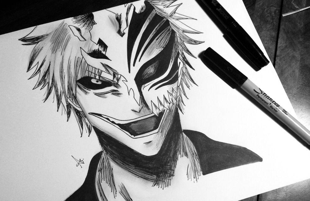Bleach Ichigo Hollow Drawing Ink Illustration Art