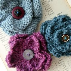 knitted flowers pattern - Google Search