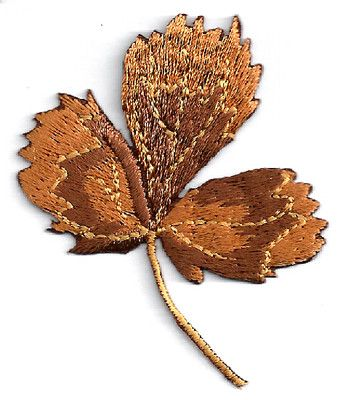 FALL LEAF FULLY EMBROIDERED BROWNS IRON ON APPLIQUE