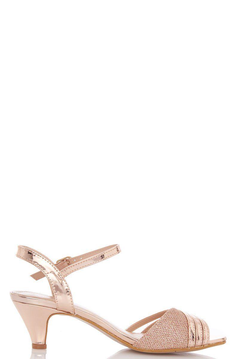 Rose Gold Metallic Strap Low Heel Sandal Quiz Clothing Low Heel Sandals Gold Heels Prom Sandals Heels