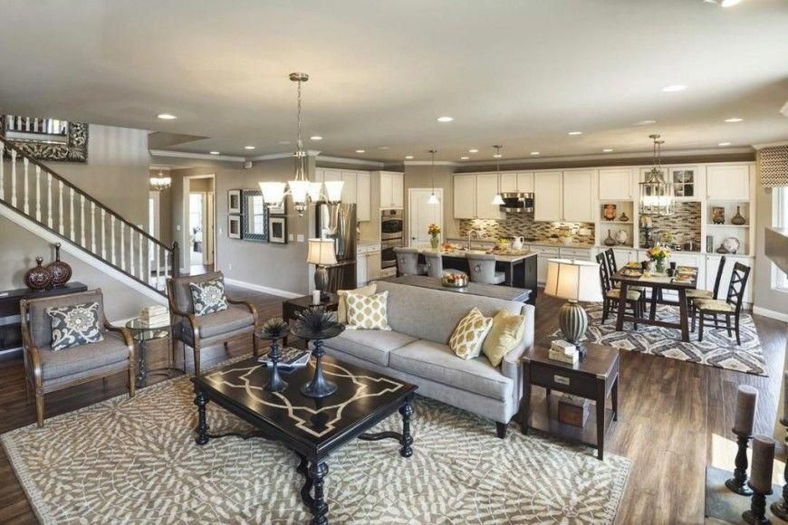 An Open Concept Space Combining The Kitchen Dining Room And Living
