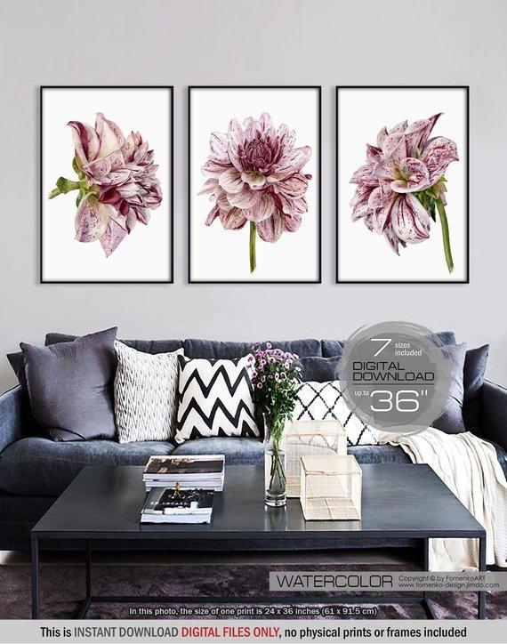 Wall Art Sets For Living Room Modern Cabinets Printable Set 3 Flower Print Large Prints Bedroom Decor