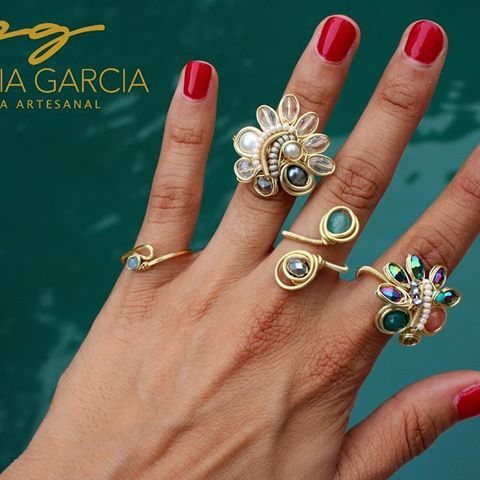 PG Anillos con perlas, cristal, jade y ágata #pg #joyeriaartesanal #rings #anil…