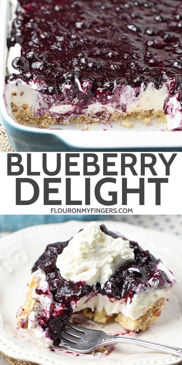 Whip up a dreamy blueberry delight. Easy recipe for a no bake blueberry dessert, made with Dream Whip, cream cheese, blueberry pie filling, and a pecan crust.