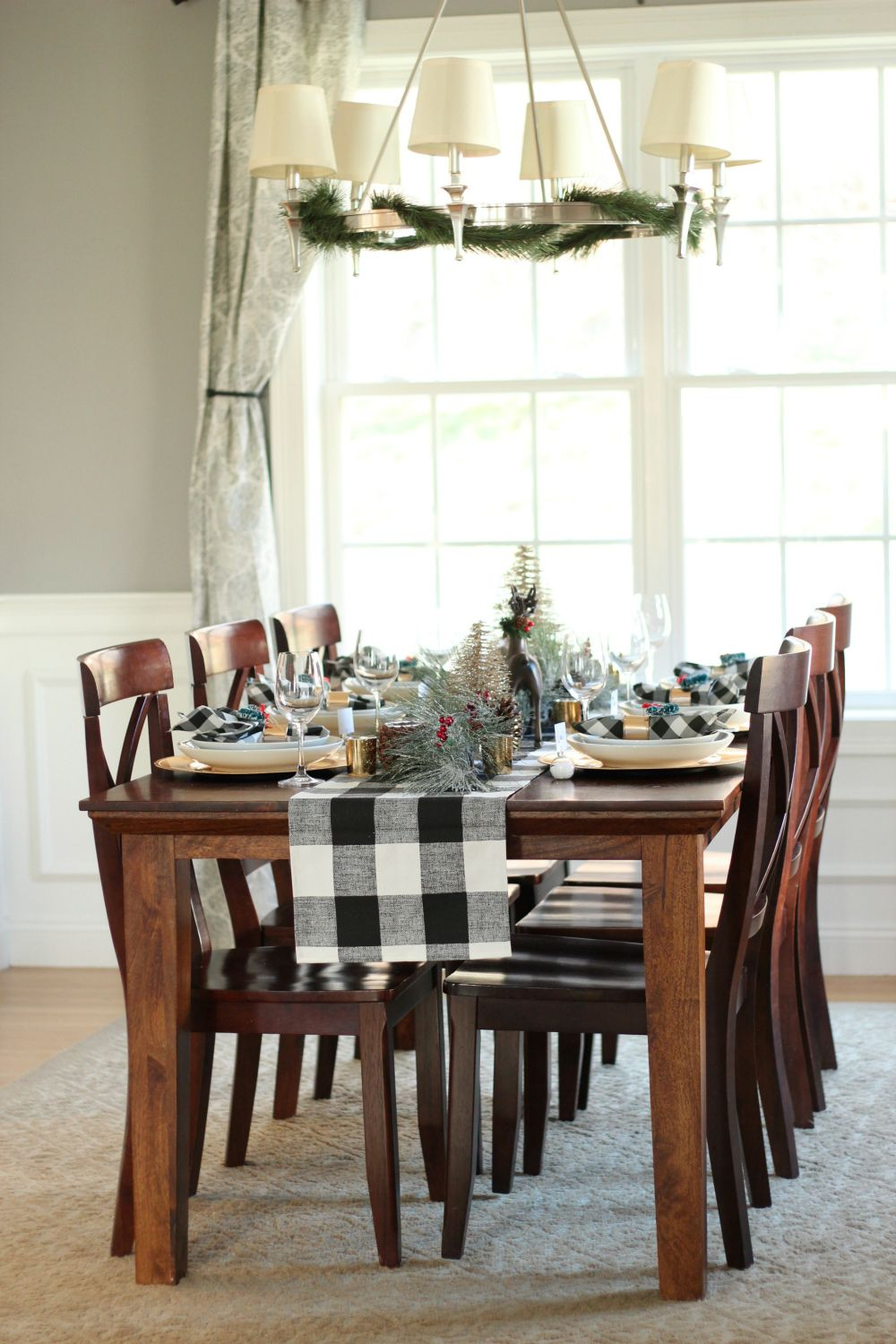 buffalo plaid table runner christmas tablescape - Christmas Plaid Table Runner