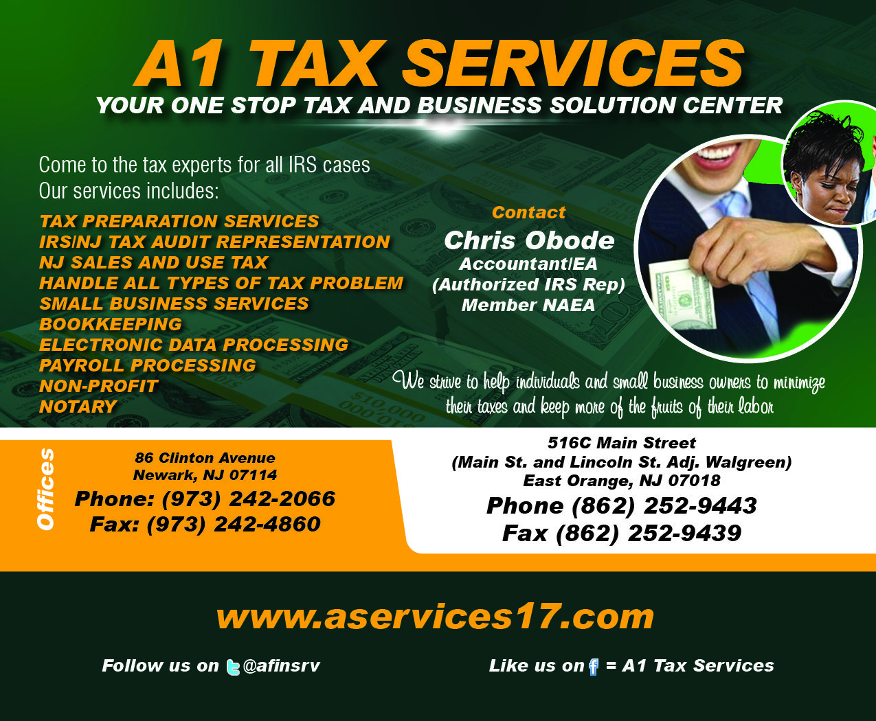 A1 Tax Services is your one stop tax and bookkeeping solution center.