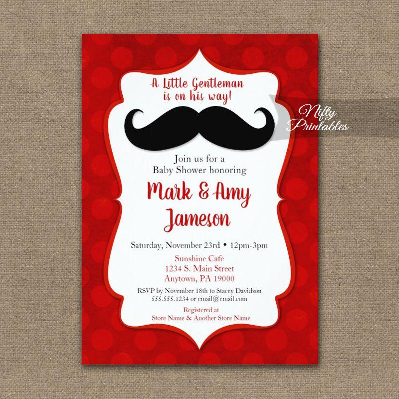 Mustache Baby Shower Invites