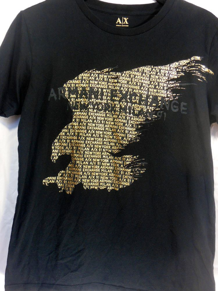45a5d9180dd0 Armani Exchange mens t-shirt black tee gold prints short sleeve size ...