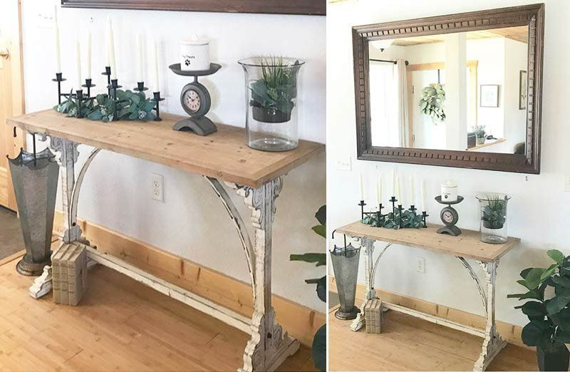 Distressed white corbel entry table console tables