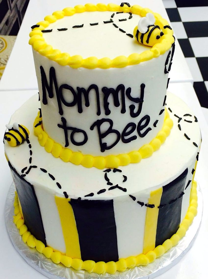 "White, Black And Yellow ""mommy To Bee"" Baby Shower Cake By"