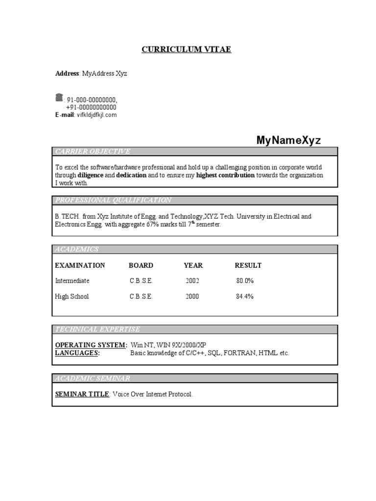 B E Ece Resume Format Resume Format Resume Format Resume