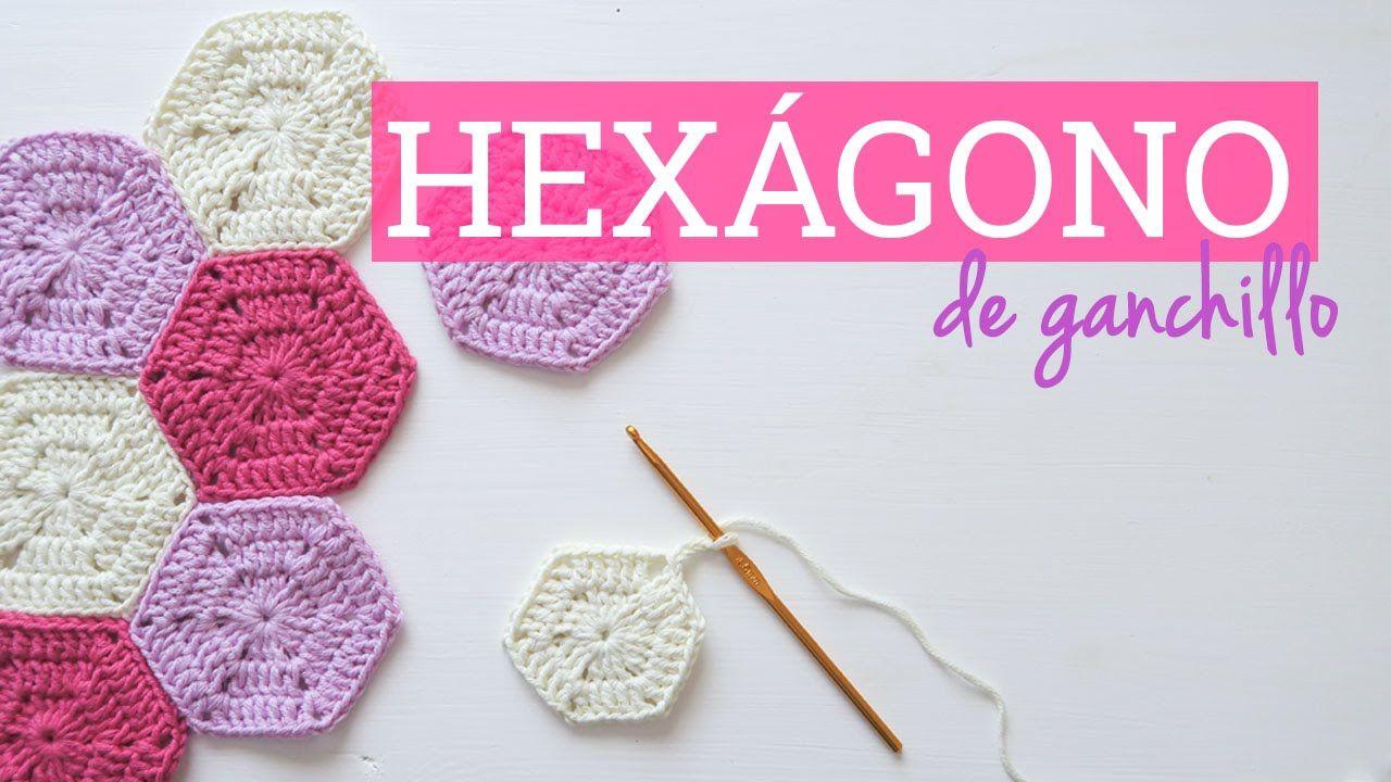 Cómo hacer un hexágono de ganchillo | Crochet hexagon … | Cuadrados ...
