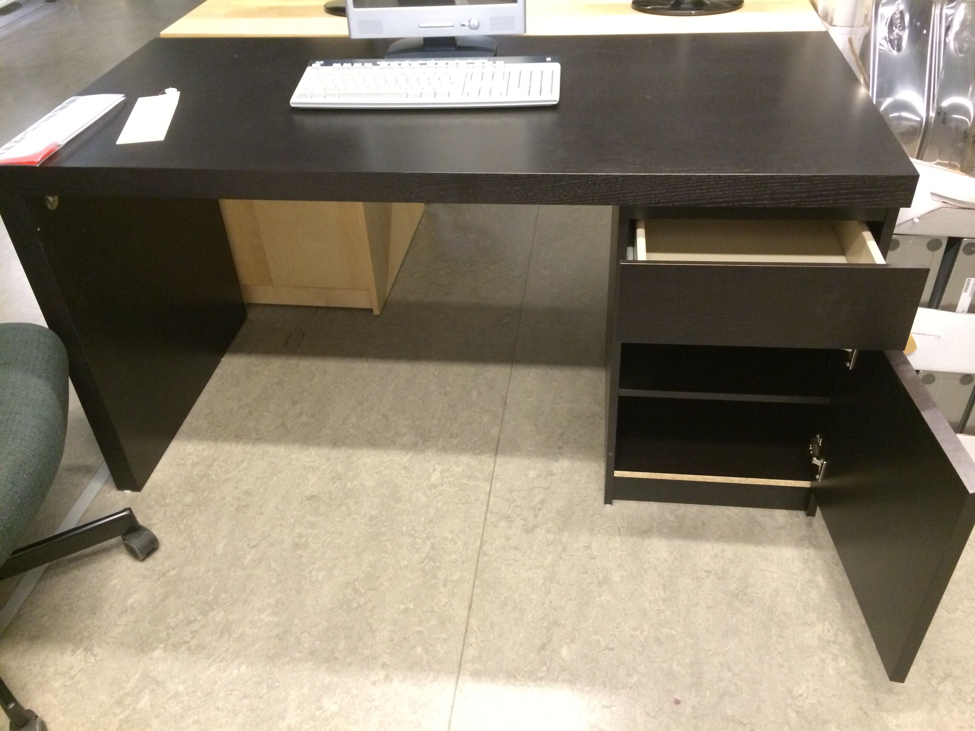 MALM desk with side storage drawer and double shelf with door In black brown