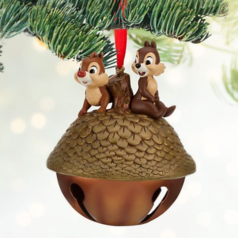 Disney Parks Santa Chip /& Dale W//Acorn Gift Blown Glass Christmas Ornament 2017