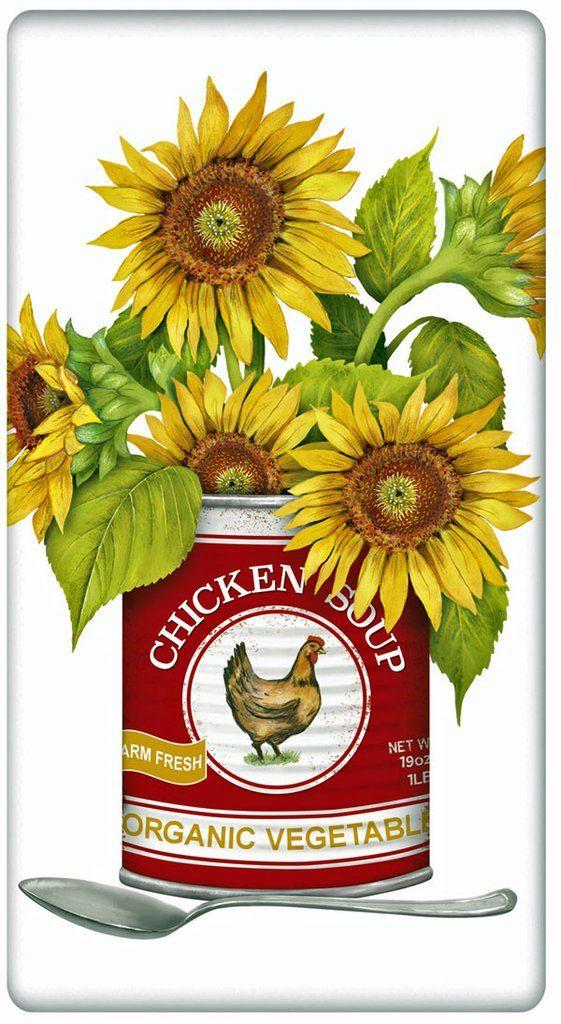 Can of Autumn Sunflower 100% Cotton Flour Sack Dish Towel Tea Towel #dishtowels