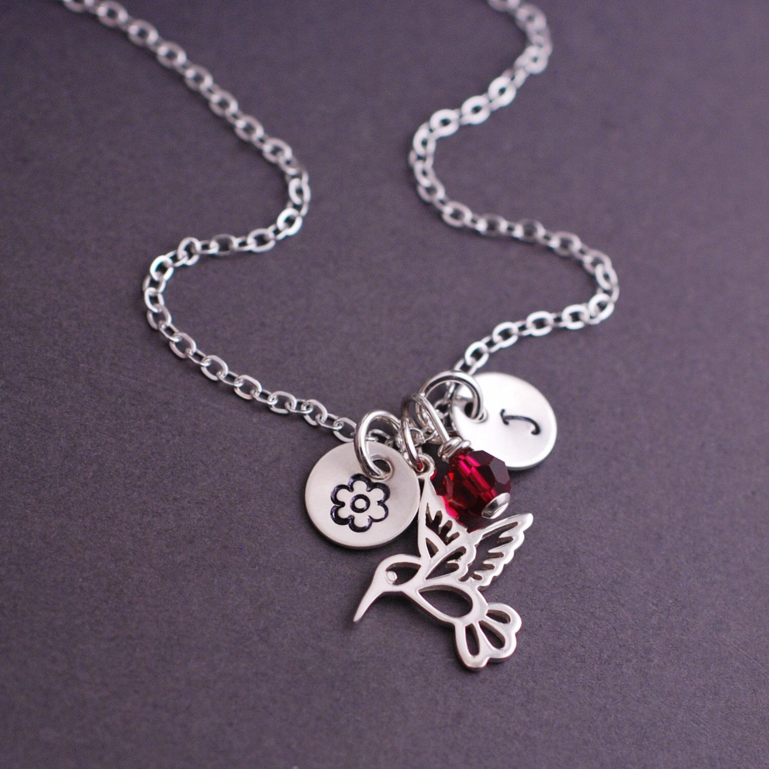 7443d9591 Hummingbird Necklace, Personalized Hummingbird Jewelry with Ruby Red Crystal  in Sterling Silver by georgiedesigns on