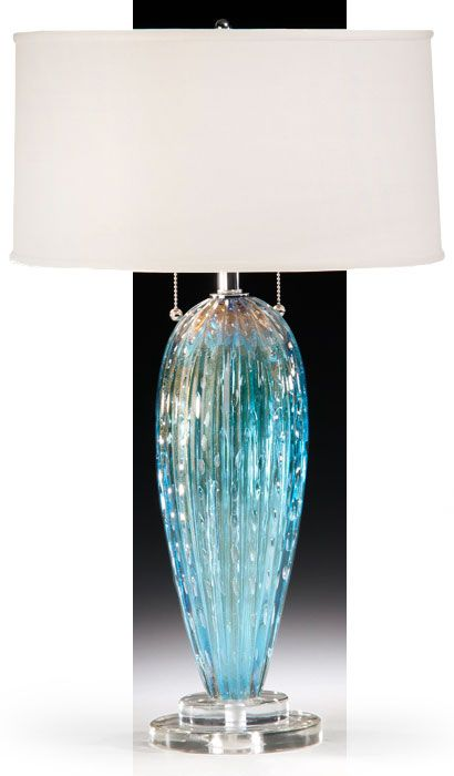 Glass Table Lamp Aqua Venetian Glass Table Lamp Blue Glass Lamp Glass Lamp Lamp