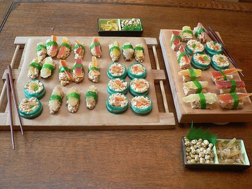 "Dessert Sushi!  You'll need:  ""Rice"" The base is your basic rice krispy treat recipe.  ""Fish"" – various dried fruits (mango, papaya, & candied ginger all work well, but just go wild in the dried fruit bins)  ""Nori""- green or purple fruit leather (fruit rollups–or the natural stuff looks even better). If you can find nicely colored strips (like Yogos Rollers or Fruit by the Foot) that makes it even easier. #dessertsushi"