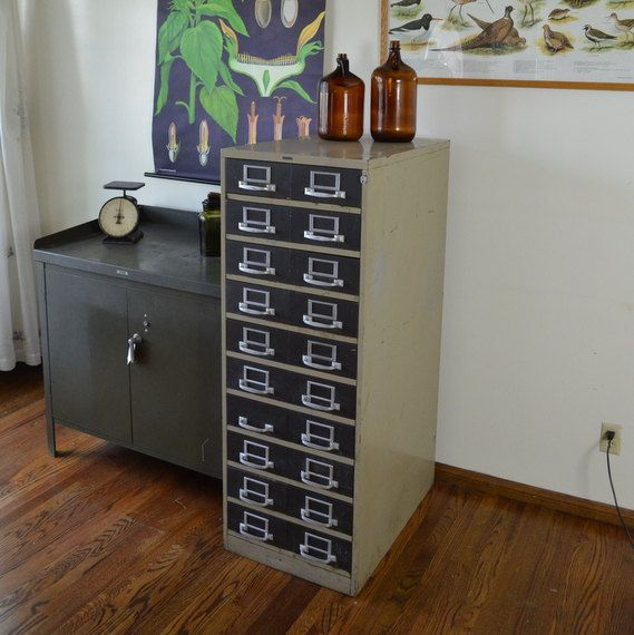 Industrial Card Cabinet Metal By UrbanReclaimer, $249.00