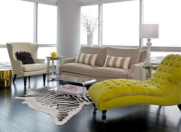 Beautiful Chicago Apartment Interior Chaise Lounge Living Room Classy Living Room Green Chaise Lounge