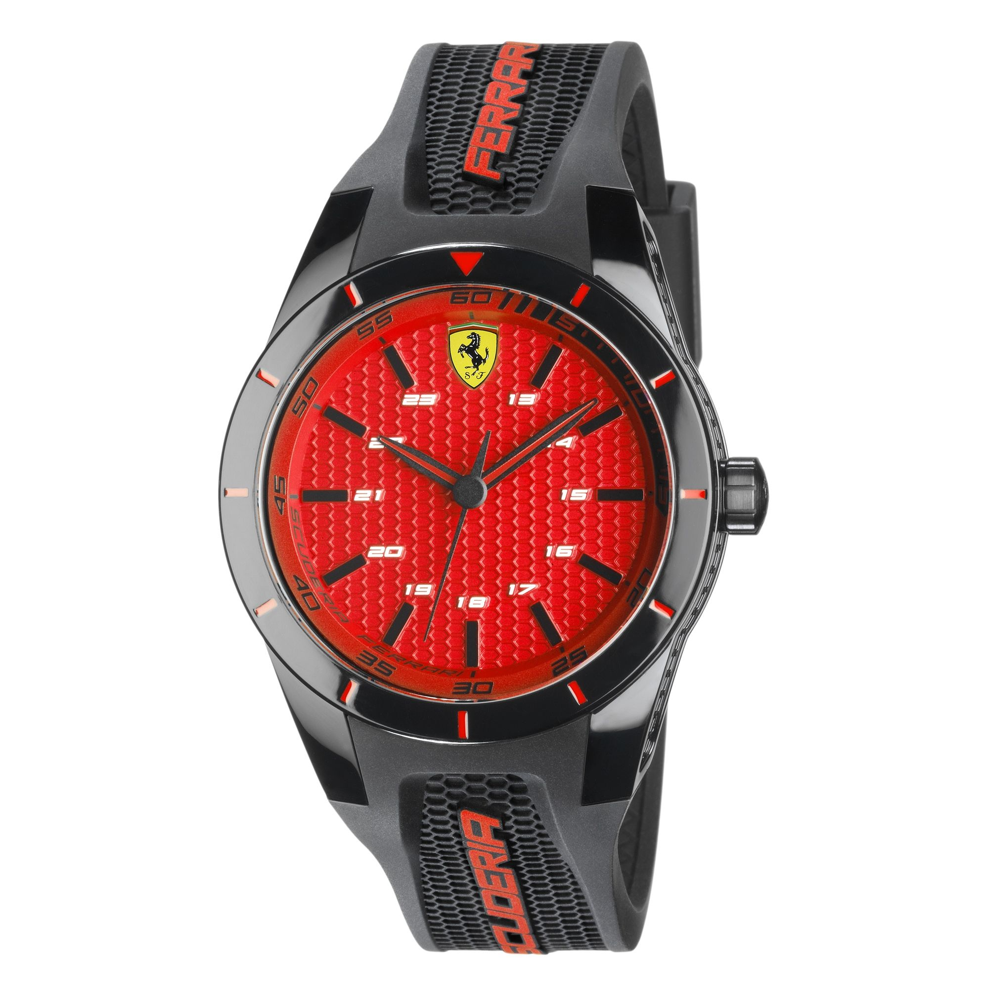 A Ferrari Red Dial For A Wrist Watch With Silicone Strap Designed To Allow The Sports Active Man To Wear His Passion Ferrari Watch Watches For Men Wrist Watch