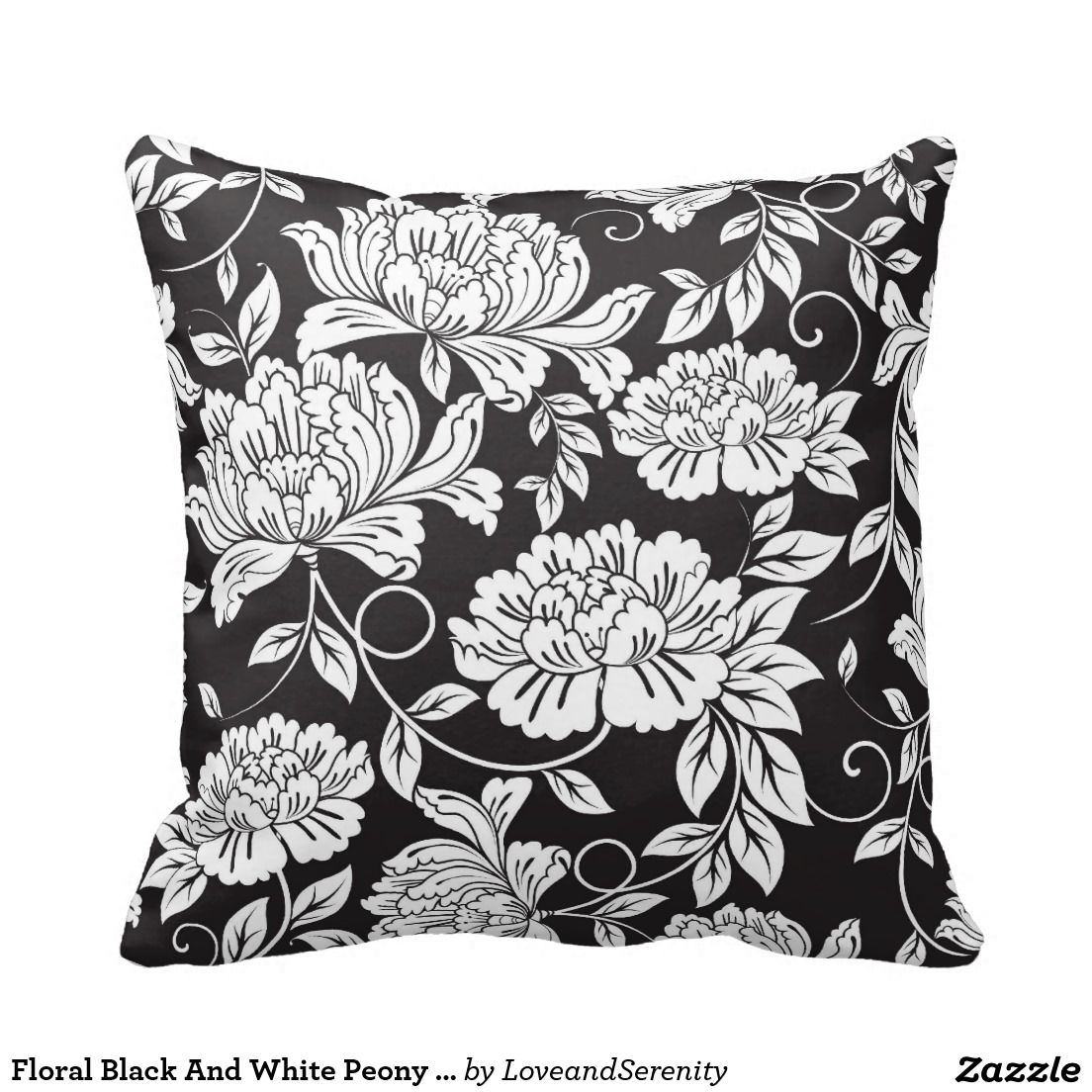 Floral Black And White Peony Flower Pattern Pillow