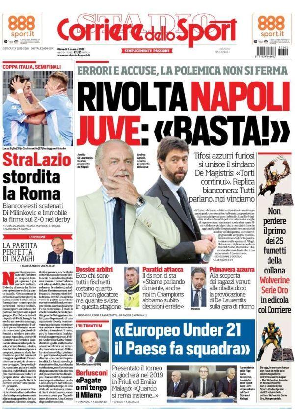 Prima pagina Corriere dello Sport 2 marzo Rivolta Napoli