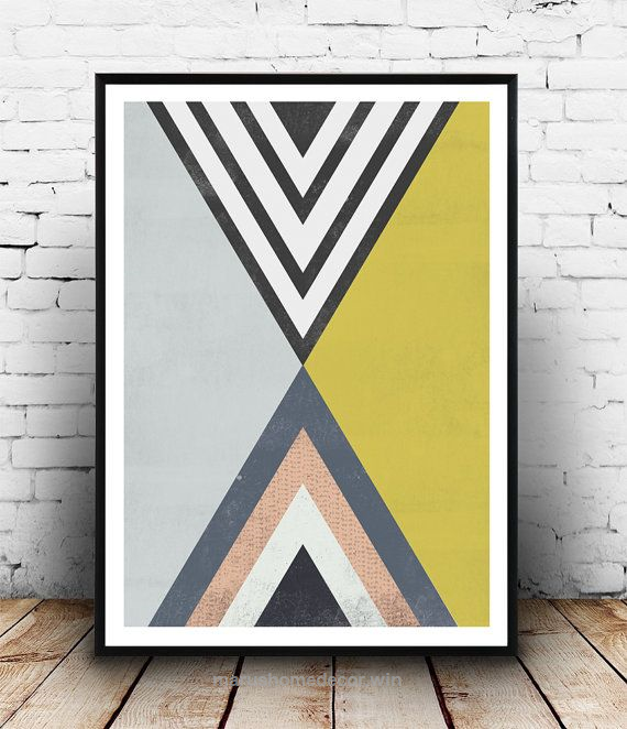 Triangles art abstract poster geometric poster op art pastel colors home de