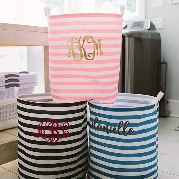 Monogrammed Laundry Bag Striped Laundry Bag Monogrammed Laundry