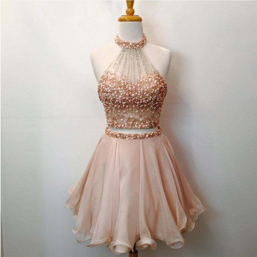 piece halter homecoming dresses blush pink short prom dresses