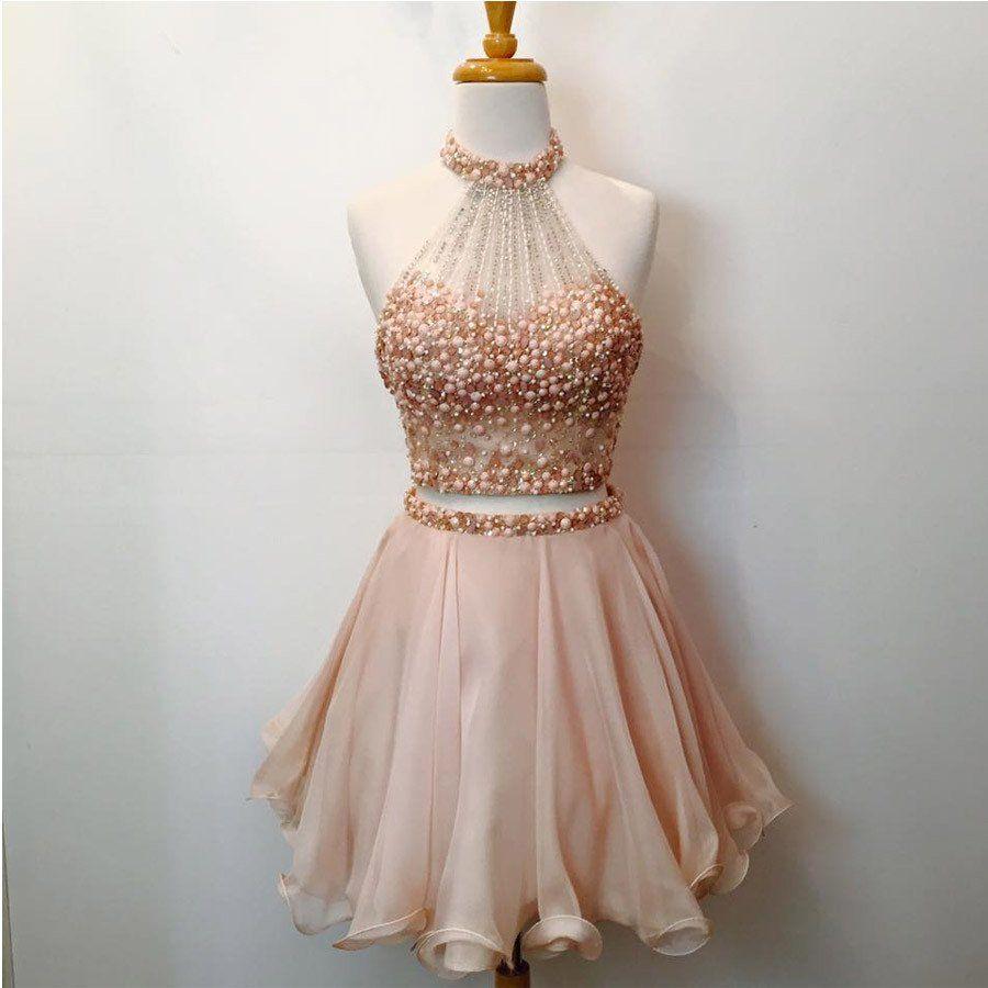 piece halter homecoming dresses blush pink short prom dresses