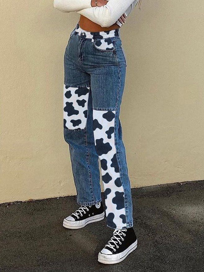 Cow Print Contrast Patchwork Straight-Leg Jeans