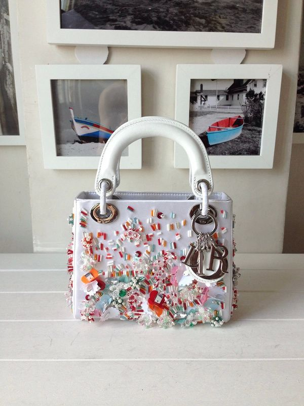 b9a224e1d40 Lady Dior Satin Hand-Embroidered Micro 15cm Bag with Beaded Sequins, White  - Shop Ms Fashion Junkie