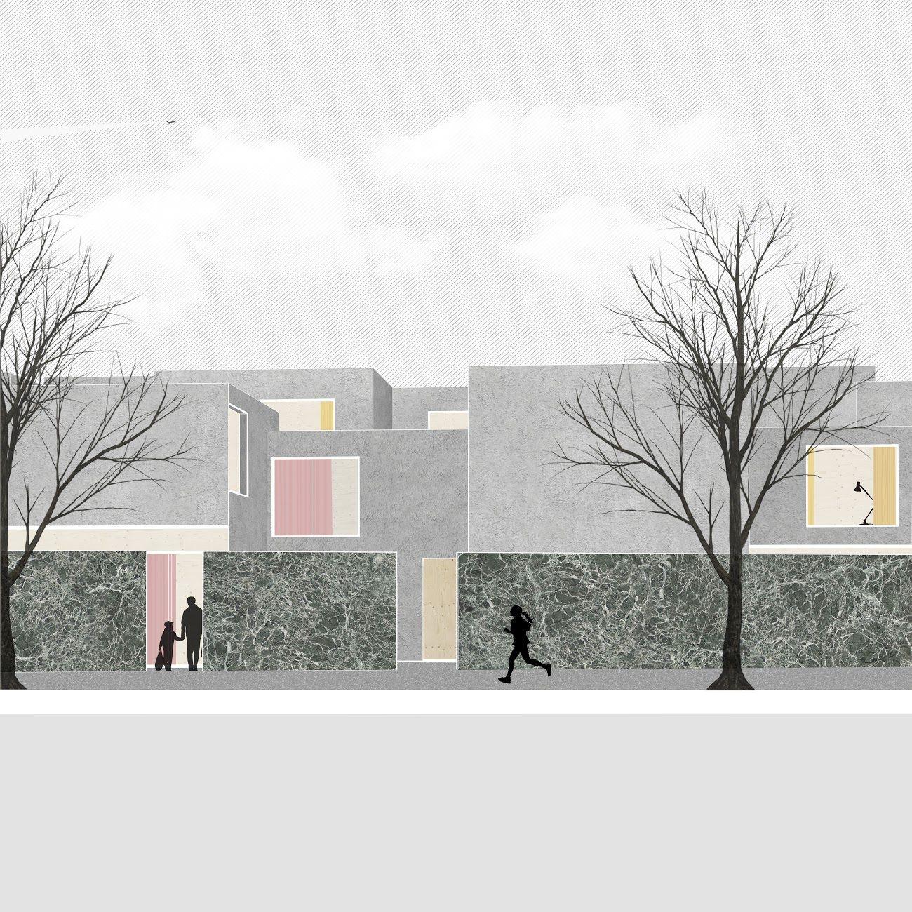 Anna budzinskaya pasadena housing perspective 1 cal poly pomona graf maf pinterest for Cal poly pomona interior design