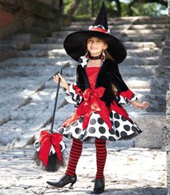 "polka dot witch girls costume - Only at Chasing Fireflies - Much too cute for any ""double, double, toil and trouble,"" this costume is for any witch who wants to stand out among all others."